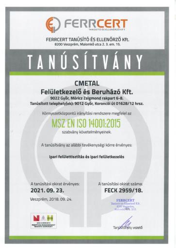 MSZ EN ISO 14001-2015